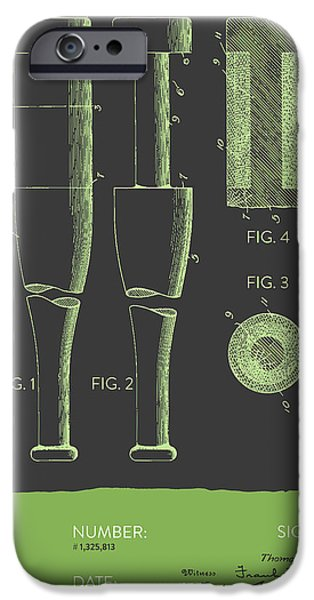 Baseball Glove iPhone Cases -  Baseball Bat Patent from 1919 - Gray Green iPhone Case by Aged Pixel