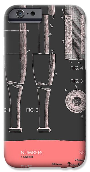 Baseball Glove iPhone Cases -  Baseball Bat Patent from 1919 - Gray Salmon iPhone Case by Aged Pixel