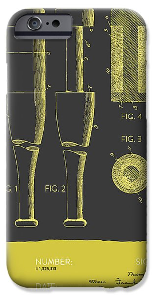 Baseball Glove iPhone Cases -  Baseball Bat Patent from 1919 - Gray Yellow iPhone Case by Aged Pixel