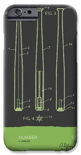 Baseball iPhone Cases -  Baseball Bat Patent from 1924 - Gray Green iPhone Case by Aged Pixel