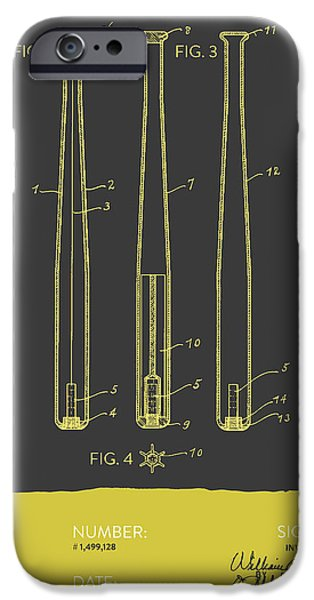 Baseball Digital Art iPhone Cases -  Baseball Bat Patent from 1924 - Gray Yellow iPhone Case by Aged Pixel