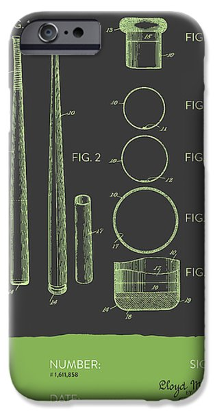 Baseball Glove iPhone Cases -  Baseball Bat Patent from 1926 - Gray Green iPhone Case by Aged Pixel