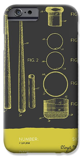 Baseball Glove iPhone Cases -  Baseball Bat Patent from 1926 - Gray Yellow iPhone Case by Aged Pixel