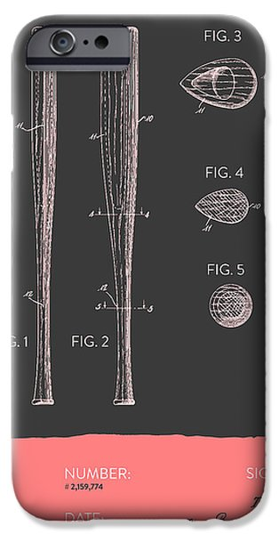 Baseball Glove iPhone Cases -  Baseball Bat Patent from 1939 - Gray Salmon iPhone Case by Aged Pixel