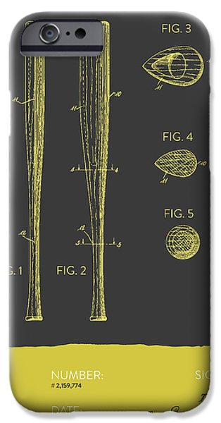 Baseball Glove iPhone Cases -  Baseball Bat Patent from 1939 - Gray Yellow iPhone Case by Aged Pixel