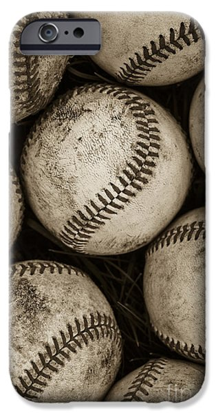 Sports iPhone Cases -  Baseballs iPhone Case by Diane Diederich