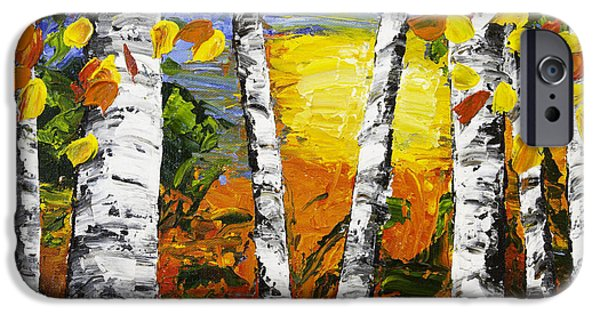 Woodlands Scene Paintings iPhone Cases -  Birch Trees In Fall Pallete Knife Painting iPhone Case by Keith Webber Jr