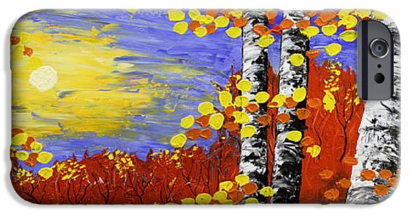 Woodlands Scene Paintings iPhone Cases -  Birch Trees In Fall Panorama Painting iPhone Case by Keith Webber Jr