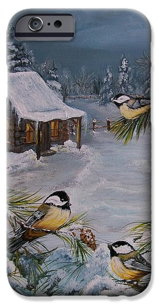 Cabin Window iPhone Cases -  Black Capped   Chickadees  iPhone Case by Sharon Duguay