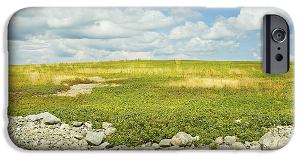 Blueberry iPhone Cases -  Blueberry Field With Blue Sky And Clouds In Maine iPhone Case by Keith Webber Jr