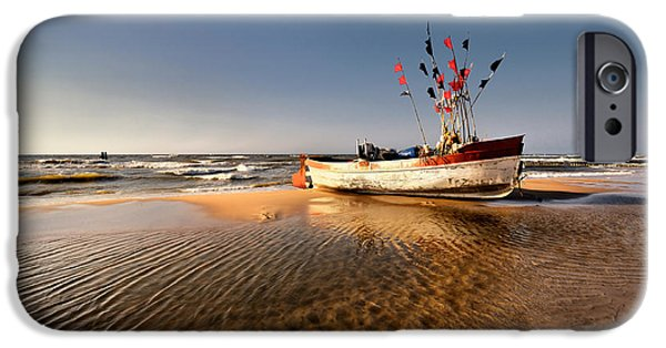 Pirate Ships iPhone Cases -  Boat on the beach iPhone Case by Jan Sieminski