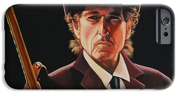 Bob Paintings iPhone Cases -  Bob Dylan 2 iPhone Case by Paul  Meijering
