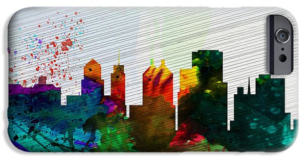 Horizon Paintings iPhone Cases -  Buffalo City Skyline iPhone Case by Naxart Studio