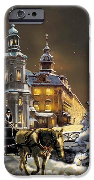 Horse And Buggy iPhone Cases -  Buggy and horse at Christmasn the Ukraine iPhone Case by Gina Femrite