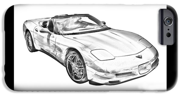 Vehicles iPhone Cases -  C5 Corvette convertible Muscle Car Illustration iPhone Case by Keith Webber Jr