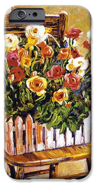 CHAIR OF FLOWERS iPhone Case by David Lloyd Glover