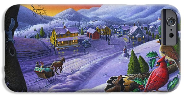 Snow Scene iPhone Cases -  Christmas Sleigh Ride Winter Landscape Oil Painting - Cardinals Country Farm - Small Town Folk Art iPhone Case by Walt Curlee