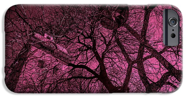City Scape Mixed Media iPhone Cases -  Church And Trees In Pinkish iPhone Case by Toppart Sweden
