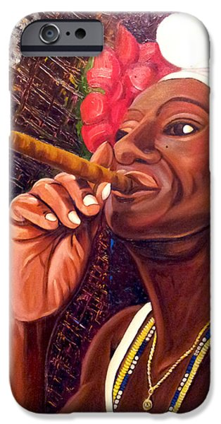 Cuban iPhone Cases -   Cigar Lady iPhone Case by Jose Manuel Abraham