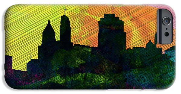 Horizon Paintings iPhone Cases -  Cincinnati City Skyline iPhone Case by Naxart Studio