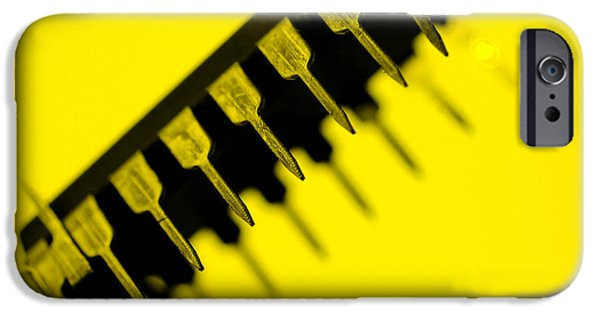 Printed Circuit Board iPhone Cases -  Circuit With Yellow Tone Macro iPhone Case by Toppart Sweden
