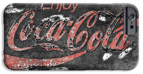 Coca-cola Signs iPhone Cases -  Coca Cola Sign Faded Grunge iPhone Case by John Stephens