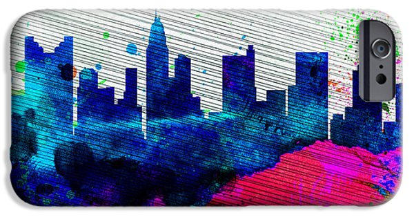 Horizon Paintings iPhone Cases -  Columbus City Skyline iPhone Case by Naxart Studio