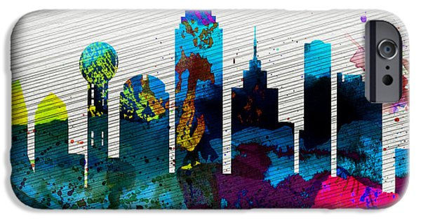Dallas iPhone Cases -  Dallas City Skyline iPhone Case by Naxart Studio