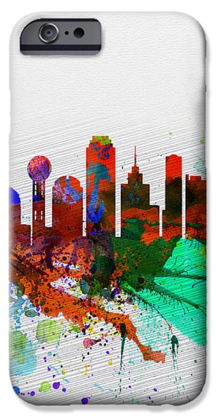 Dallas iPhone Cases -  Dallas Watercolor Skyline iPhone Case by Naxart Studio