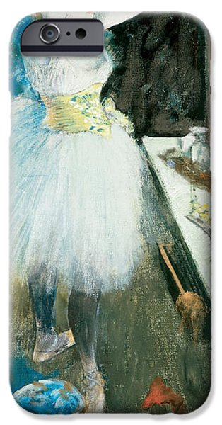 Dressing Room Paintings iPhone Cases -  Dancer in Her Dressing Room iPhone Case by Edgar Degas