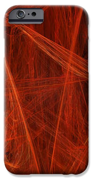 Dancing Flames 1 V - Panorama - Abstract - Fractal Art iPhone Case by Andee Design