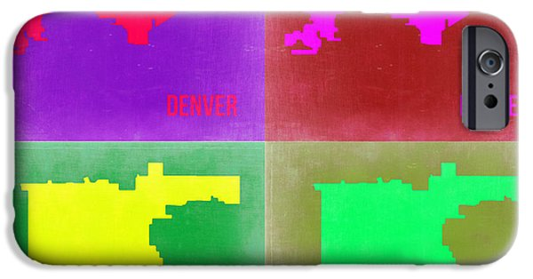 Denver iPhone Cases -  Denver Pop Art Map 2 iPhone Case by Naxart Studio
