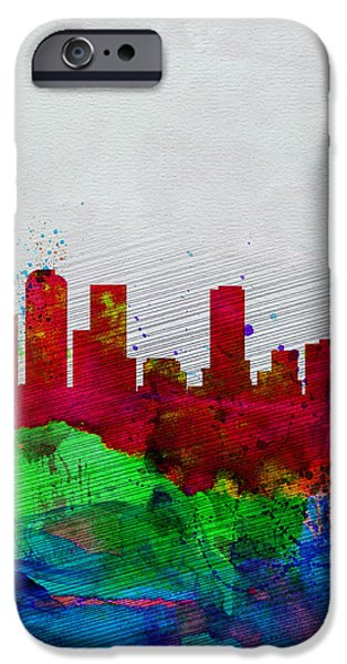 States iPhone Cases -  Denver Watercolor Skyline iPhone Case by Naxart Studio