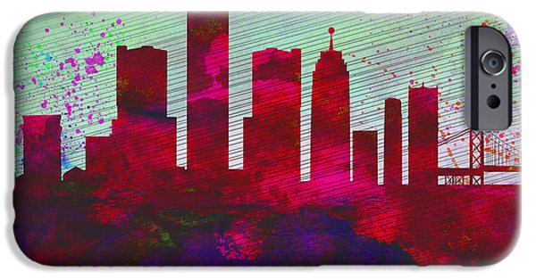Detroit Digital iPhone Cases -  Detroit City Skyline iPhone Case by Naxart Studio