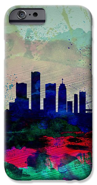 Detroit Digital iPhone Cases -  Detroit Watercolor Skyline iPhone Case by Naxart Studio