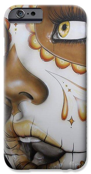 Portraiture Paintings iPhone Cases -  Dia de los Muertos iPhone Case by Christian Chapman Art