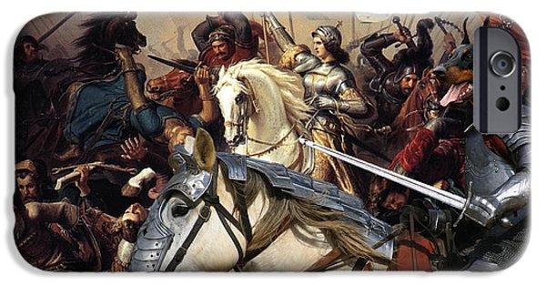 Doberman Pinscher iPhone Cases -  Doberman Pinscher Art Canvas Print - Battle of  Jeanne d Arc iPhone Case by Sandra Sij