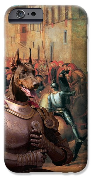 Doberman Pinscher iPhone Cases -  Doberman Pinscher Art -Entree de Charles VIII dans Florence iPhone Case by Sandra Sij