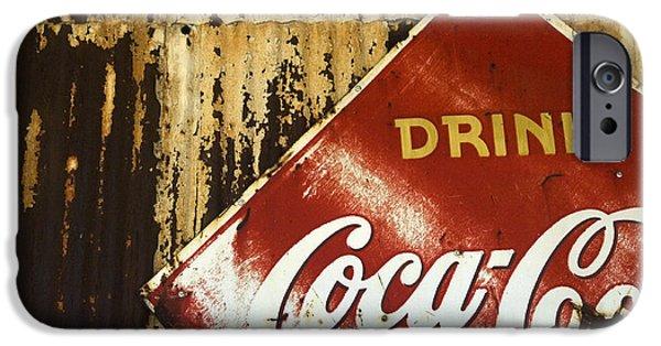 Coca-cola Signs iPhone Cases -  Drink Coca Cola  Memorbelia iPhone Case by Bob Christopher
