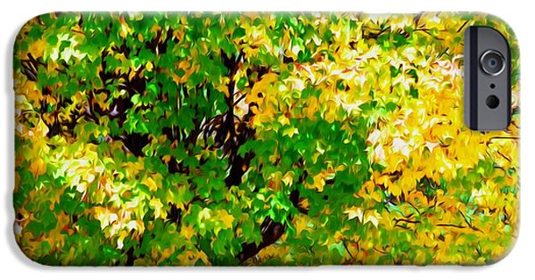 Garden Scene Paintings iPhone Cases -  Fall Leaves 1 iPhone Case by Lanjee Chee
