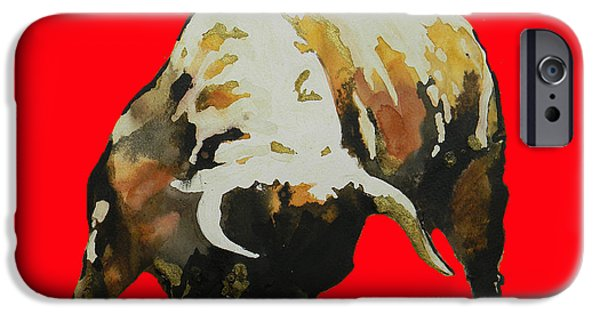 Unique Drawings iPhone Cases -  Fight Bull In Red iPhone Case by Jose Espinoza