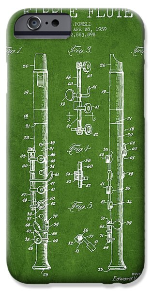 Flute iPhone Cases -  Fipple Flute Patent drawing from 1959 - Green iPhone Case by Aged Pixel