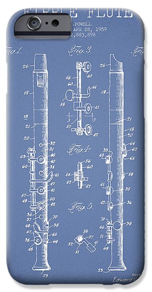 Flute iPhone Cases -  Fipple Flute Patent drawing from 1959 - Light Blue iPhone Case by Aged Pixel