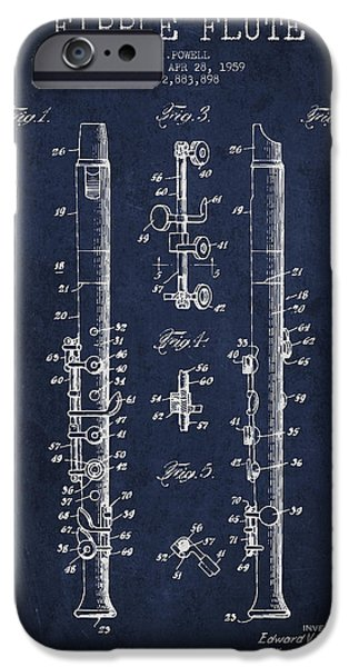 Flute iPhone Cases -  Fipple Flute Patent drawing from 1959 - Navy Blue iPhone Case by Aged Pixel