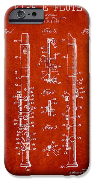 Flute iPhone Cases -  Fipple Flute Patent drawing from 1959 - Red iPhone Case by Aged Pixel