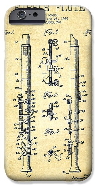 Flute iPhone Cases -  Fipple Flute Patent drawing from 1959 - Vintage iPhone Case by Aged Pixel