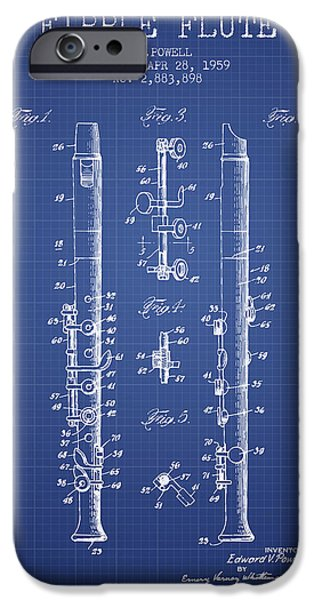 Flute iPhone Cases -  Fipple Flute Patent from 1959 - Blueprint iPhone Case by Aged Pixel