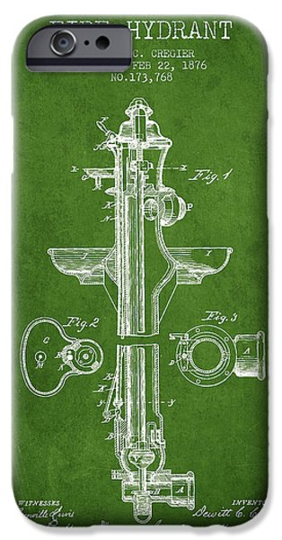 Fire Hydrant iPhone Cases -  Fire Hydrant Patent from 1876 - Green iPhone Case by Aged Pixel