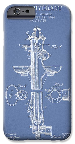 Fire Hydrant iPhone Cases -  Fire Hydrant Patent from 1876 - Light Blue iPhone Case by Aged Pixel
