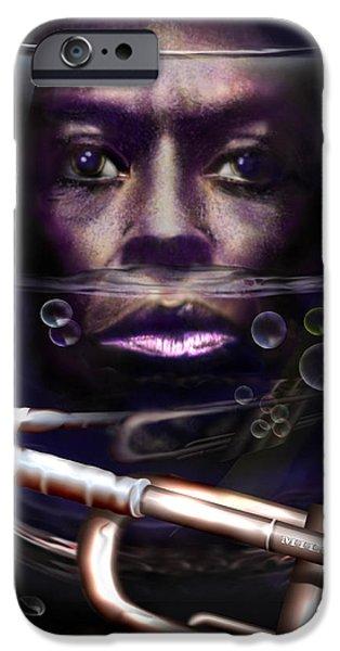 Miles-davis iPhone Cases -  Fish Bowl of Miles  iPhone Case by Reggie Duffie